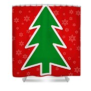 Merry Christmas Tree With Snowflake Background  Shower Curtain