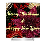 Merry Christmas With Purple Poinsettia Shower Curtain