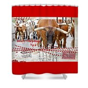 Longhorns Merry Christmas Ya'll Shower Curtain