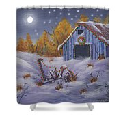 Merry Christmas You Old Barn And Farm Implement Shower Curtain