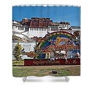 Message Of Joy From Potala Palace In Lhasa-tibet  Shower Curtain