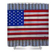 Metal American Flag Shower Curtain