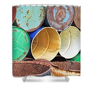 Metal Barrels 2 Shower Curtain