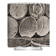 Metal Barrels 2bw Shower Curtain