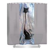 Metal Cat Shower Curtain