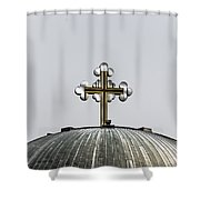 Metal Cross Shower Curtain