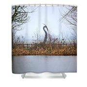 Metal Heron Shower Curtain