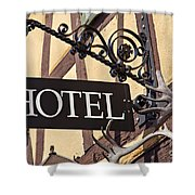 Metal Hotel Sign Shower Curtain
