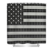 Metal Mesh Usa Flag Shower Curtain