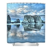 Metallic Cloud Reflections Shower Curtain