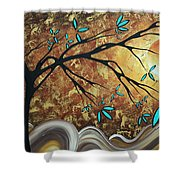 Metallic Gold Textured Original Abstract Landscape Painting Apricot Moon By Madart Shower Curtain