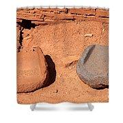 Metates At Wupatki Pueblo In Wupatki National Monument Shower Curtain