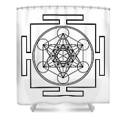 Metatron's Cube - Black Shower Curtain