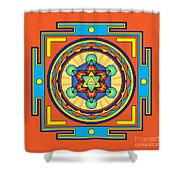 Metatron's Cube Merkaba Mandala Shower Curtain