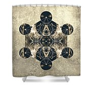 Metatron's Cube Silver Shower Curtain by Filippo B