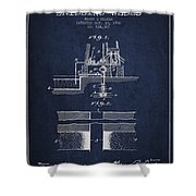 Method Of Drilling Wells Patent From 1906 - Navy Blue Shower Curtain
