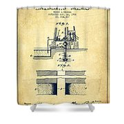 Method Of Drilling Wells Patent From 1906 - Vintage Shower Curtain