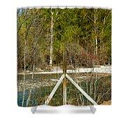 Methow River Springtime Shower Curtain