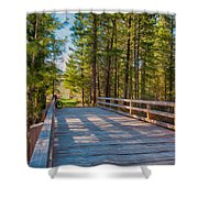 Methow Valley Community Trail At Wolf Creek Bridge Shower Curtain by Omaste Witkowski