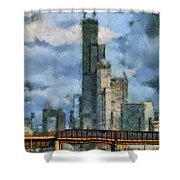 Metra Train View Sears Willis Tower Mixed Media 03 Shower Curtain