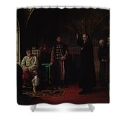 Metropolitan Philip Of Moscow 1507-90 With Tsar Ivan The Terrible 1530-84 Oil On Canvas Shower Curtain