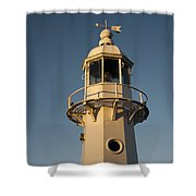 Mevagissey Lighthouse In The Evening Shower Curtain