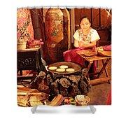 Mexican Girl Making Tortillas Shower Curtain