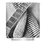 Mexican Revolution, Guitar, Corn Shower Curtain