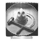 Mexican Revolution Sombrero With Hammer Shower Curtain