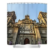 Mexico City Cathedral Facade Shower Curtain