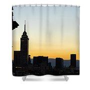 Mexico City Skyline Silhouette Shower Curtain