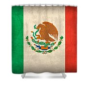 Mexico Flag Vintage Distressed Finish Shower Curtain