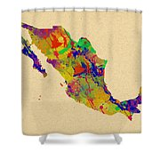Mexico Map Watercolor Shower Curtain