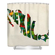 Mexico Typographic Watercolor Map Shower Curtain