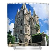 Mexico, View Of Parroquia Church San Shower Curtain by Kyle Rothenborg
