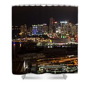 Miami After Dark II Skyline  Shower Curtain