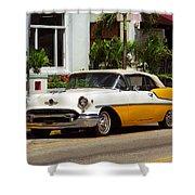 Miami Beach Classic Car Shower Curtain