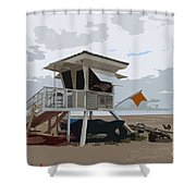 Miami Beach Lifeguard Station II Abstract Shower Curtain