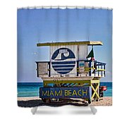Miami Beach Lifeguard Station Shower Curtain