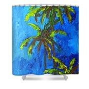 Miami Beach Palm Trees In A Blue Sky Shower Curtain by Patricia Awapara