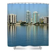 Miami Brickell Skyline Shower Curtain