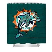 Miami Dolphins Football Team Retro Logo Florida License Plate Art Shower Curtain