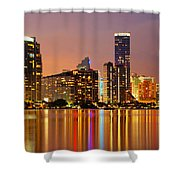 Miami Skyline At Dusk Shower Curtain