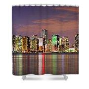 Miami Skyline At Dusk Sunset Panorama Shower Curtain