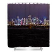 Miami Skyline Bay View Shower Curtain