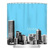 Miami Skyline - Sky Blue Shower Curtain