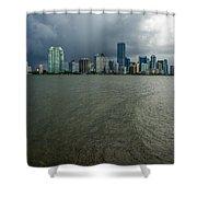 Miami Skyline Storm Shower Curtain