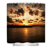 Miami Skyline Sunset Shower Curtain