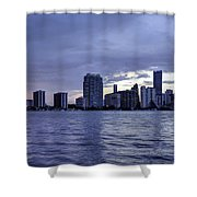 Miami Skyline Waves Shower Curtain