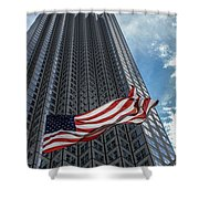 Miami's Financial Center And Old Glory Shower Curtain by Rene Triay Photography